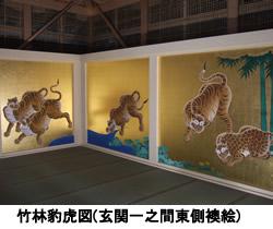 竹林豹虎図